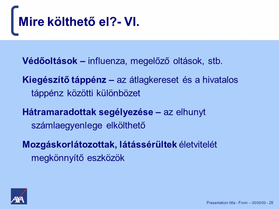 Presentation title - From – 00/00/00 - 28 Mire költhető el?- VI.