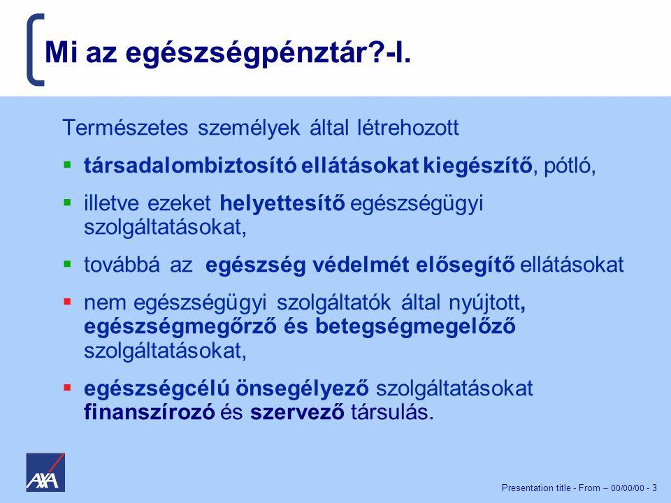 Presentation title - From – 00/00/00 - 3 Mi az egészségpénztár?-I.