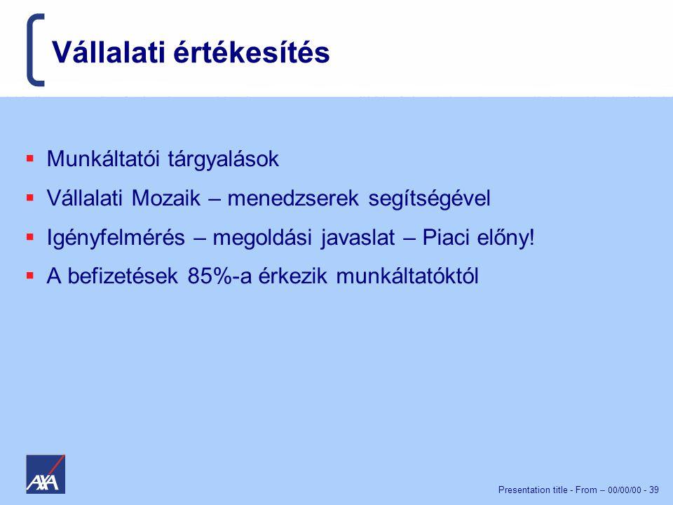 Presentation title - From – 00/00/00 - 39 Vállalati értékesítés  Munkáltatói tárgyalások  Vállalati Mozaik – menedzserek segítségével  Igényfelmérés – megoldási javaslat – Piaci előny.