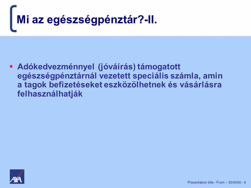 Presentation title - From – 00/00/00 - 4 Mi az egészségpénztár?-II.