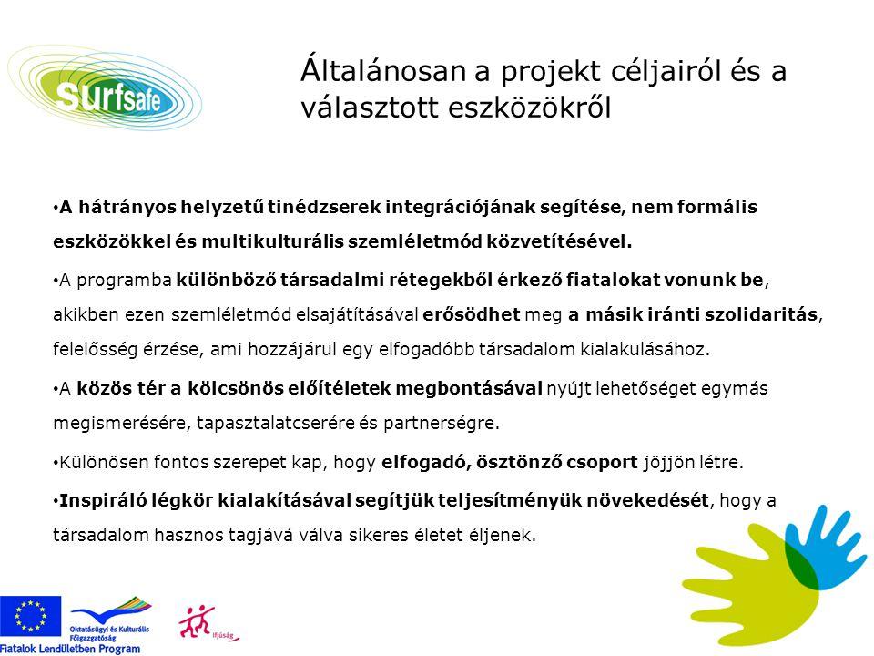 A projekt konkrét céljai • 14-17 év közötti fiatalok számára lehetőség biztosítása a megfelelő és biztonságos internethasználat megtanulására nem-formális keretek között • a fiatalok képességeinek és kompetenciáinak növelése internethasználat terén • a fiatalok társas készségeinek fejlesztése, szocializációjuk elősegítése • ön-érdekérvényesítést segítő kommunikációs technikák átadása • közösségépítés, közösségformálás