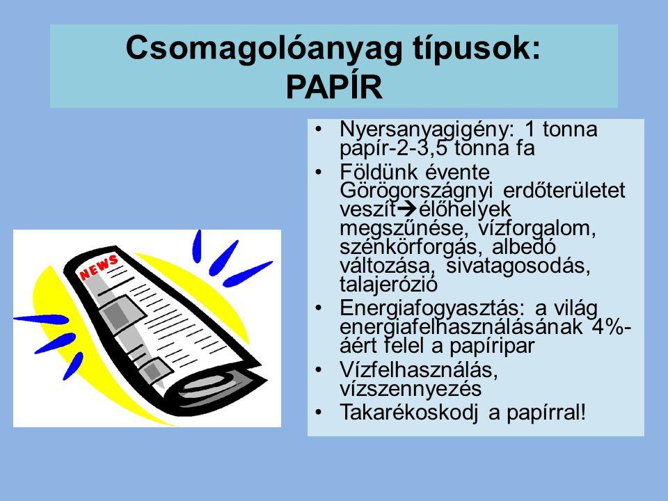 Csomagolóanyag típusok: PAPÍR •Nyersanyagigény: 1 tonna papír-2-3,5 tonna fa •Földünk évente Görögországnyi erdőterületet veszít  élőhelyek megszűnése, vízforgalom, szénkörforgás, albedó változása, sivatagosodás, talajerózió •Energiafogyasztás: a világ energiafelhasználásának 4%- áért felel a papíripar •Vízfelhasználás, vízszennyezés •Takarékoskodj a papírral!