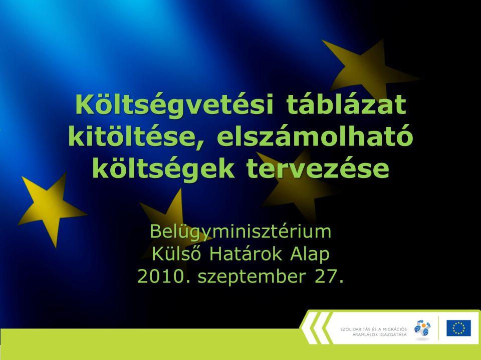 Költségvetési táblázat kitöltése, elszámolható költségek tervezése Belügyminisztérium Külső Határok Alap 2010. szeptember 27.