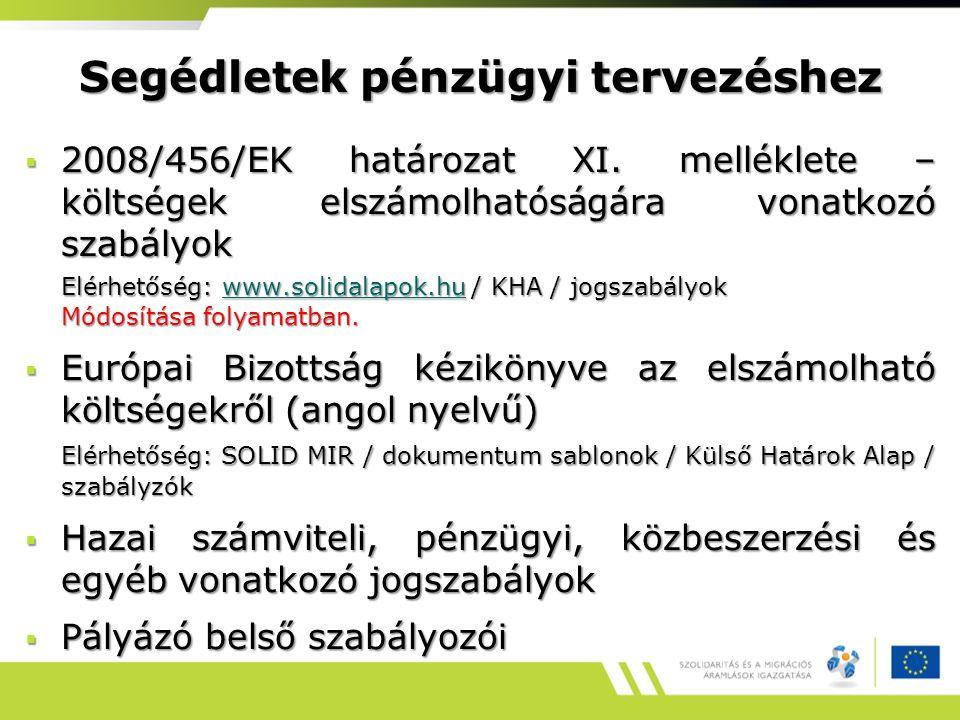 Segédletek pénzügyi tervezéshez  2008/456/EK határozat XI. melléklete – költségek elszámolhatóságára vonatkozó szabályok Elérhetőség: www.solidalapok