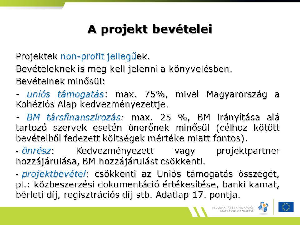 A projekt bevételei Projektek non-profit jellegűek. Bevételeknek is meg kell jelenni a könyvelésben. Bevételnek minősül: - uniós támogatás: max. 75%,