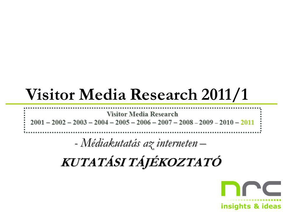 Visitor Media Research 2011/1 Visitor Media Research 2001 – 2002 – 2003 – 2004 – 2005 – 2006 – 2007 – 2008 – 2009 – 2010 – 2011 - Médiakutatás az interneten – KUTATÁSI TÁJÉKOZTATÓ