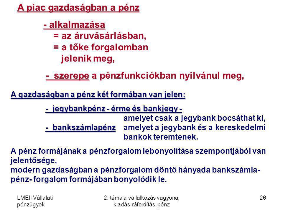 LMEII Vállalati pénzügyek 2. téma a vállalkozás vagyona, kiadás-ráfordítás, pénz 26 A piac gazdaságban a pénz - alkalmazása - alkalmazása = az áruvásá