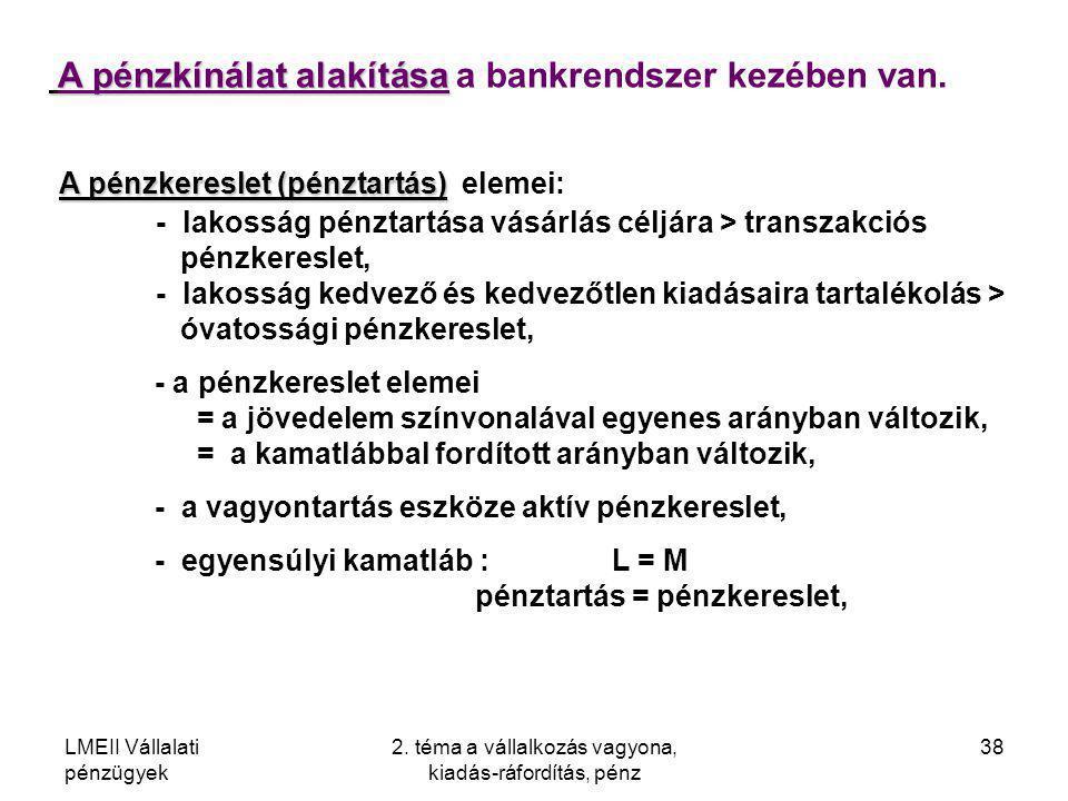 LMEII Vállalati pénzügyek 2. téma a vállalkozás vagyona, kiadás-ráfordítás, pénz 38 A pénzkínálat alakítása A pénzkínálat alakítása a bankrendszer kez