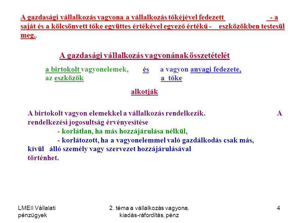 LMEII Vállalati pénzügyek 2. téma a vállalkozás vagyona, kiadás-ráfordítás, pénz 4 A gazdasági vállalkozás vagyonának összetételét a birtokoltés anyag