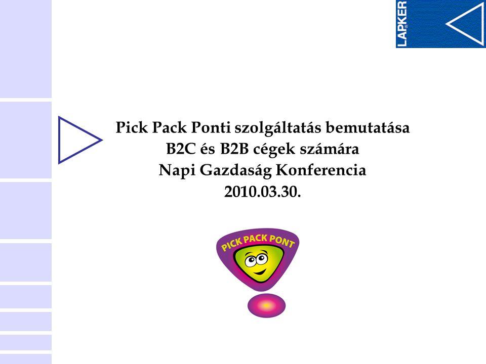 Pick Pack Ponti szolgáltatás bemutatása B2C és B2B cégek számára Napi Gazdaság Konferencia 2010.03.30.