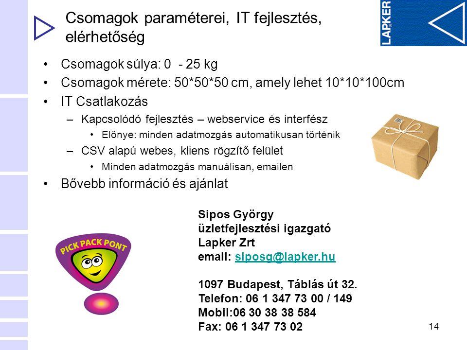 14 Csomagok paraméterei, IT fejlesztés, elérhetőség •Csomagok súlya: 0 - 25 kg •Csomagok mérete: 50*50*50 cm, amely lehet 10*10*100cm •IT Csatlakozás