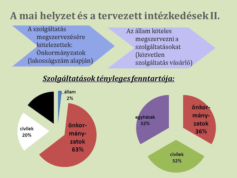 A mai helyzet és a tervezett intézkedések II. A szolgáltatás megszervezésére kötelezettek: Önkormányzatok (lakosságszám alapján) Az állam köteles megs