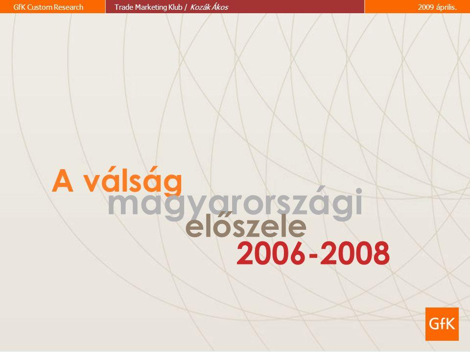 2 GfK Custom ResearchTrade Marketing Klub / Kozák Ákos2009 április. A válság magyarországi előszele 2006-2008