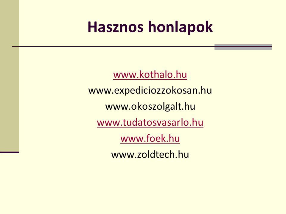 Hasznos honlapok www.kothalo.hu www.expediciozzokosan.hu www.okoszolgalt.hu www.tudatosvasarlo.hu www.foek.hu www.zoldtech.hu