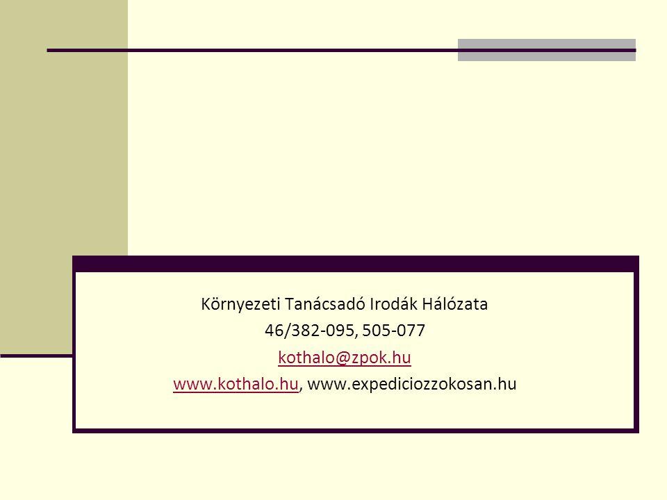 Környezeti Tanácsadó Irodák Hálózata 46/382-095, 505-077 kothalo@zpok.hu www.kothalo.huwww.kothalo.hu, www.expediciozzokosan.hu