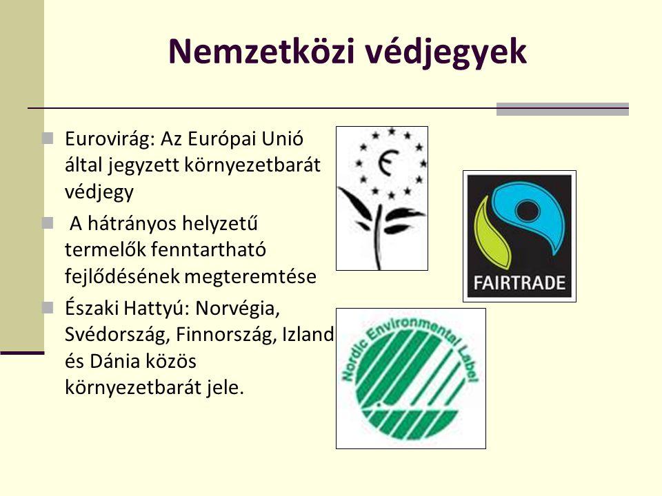 Nemzetközi védjegyek  Eurovirág: Az Európai Unió által jegyzett környezetbarát védjegy  A hátrányos helyzetű termelők fenntartható fejlődésének megt