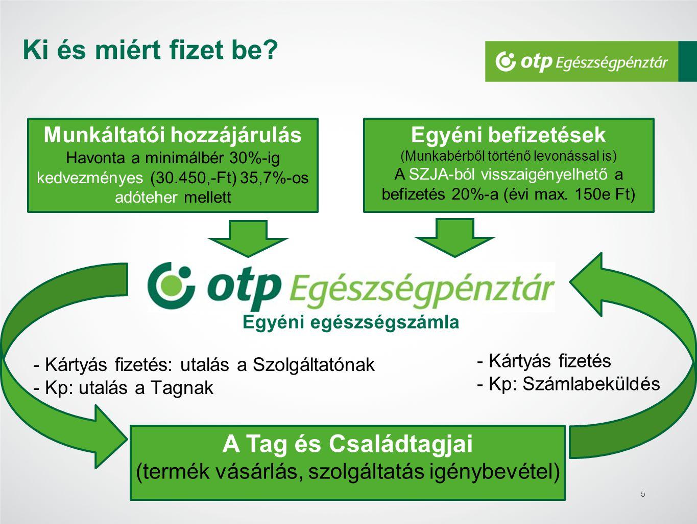 5 Munkáltatói hozzájárulás Havonta a minimálbér 30%-ig kedvezményes (30.450,-Ft) 35,7%-os adóteher mellett Egyéni befizetések (Munkabérből történő lev