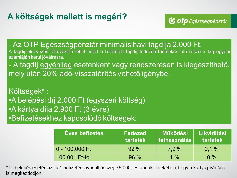 7 140.000 Ft befizetés - 2.000 Ft belépési díj - 9.440 Ft működési költség és likviditási tartalék: (100.000 Ft-2.000Ft)*8%+40.000*4% -2.900 Ft kártyadíj* 125.660 Ft felhasználható egyenleg +28.000 Ft adó-visszatérítés összege 153.660 Ft összesen felhasználható ( adó-visszatérítéssel együtt ) * A kártya gyártása a 2.900 Ft-os kártya díjának levonása után kezdődik meg.