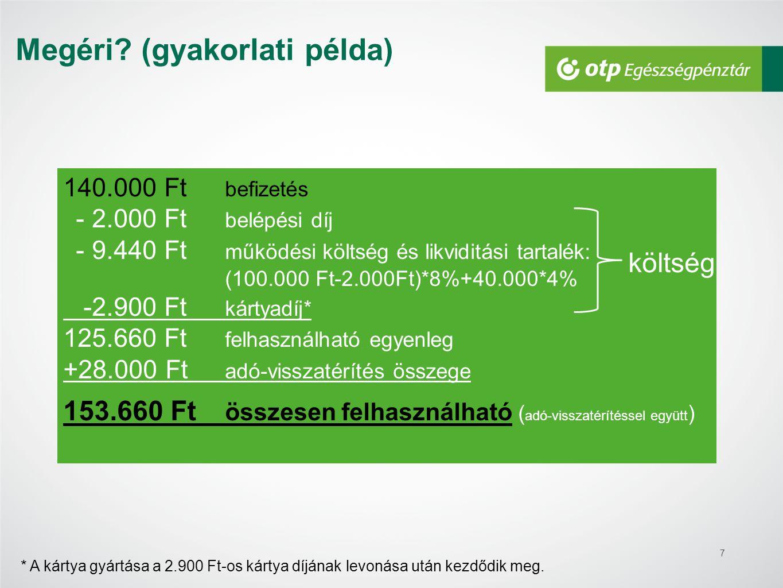 7 140.000 Ft befizetés - 2.000 Ft belépési díj - 9.440 Ft működési költség és likviditási tartalék: (100.000 Ft-2.000Ft)*8%+40.000*4% -2.900 Ft kártya