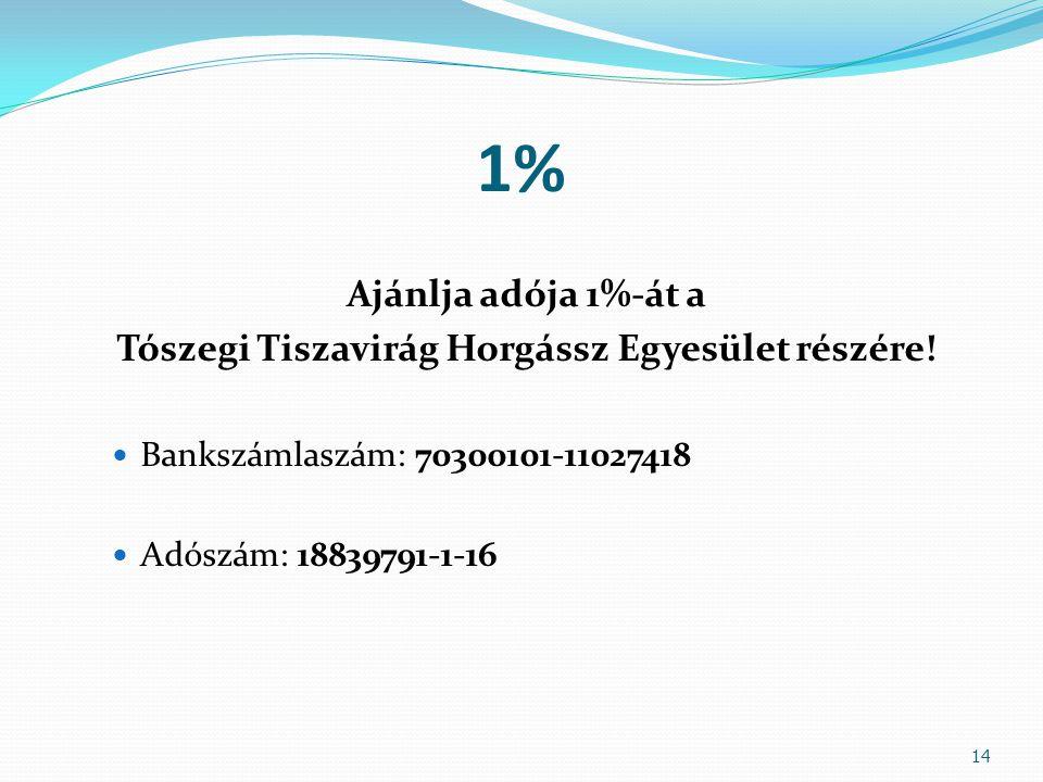 1% Ajánlja adója 1%-át a Tószegi Tiszavirág Horgássz Egyesület részére!  Bankszámlaszám: 70300101-11027418  Adószám: 18839791-1-16 14