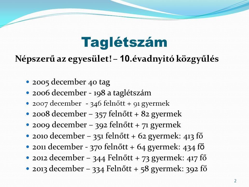 Taglétszám Népszerű az egyesület! – 10.évadnyitó közgyűlés  2005 december 40 tag  2006 december - 198 a taglétszám  2007 december - 346 felnőtt + 9