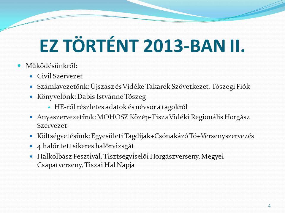 EZ TÖRTÉNT 2013-BAN II.  Működésünkről:  Civil Szervezet  Számlavezetőnk: Újszász és Vidéke Takarék Szövetkezet, Tószegi Fiók  Könyvelőnk: Dabis I