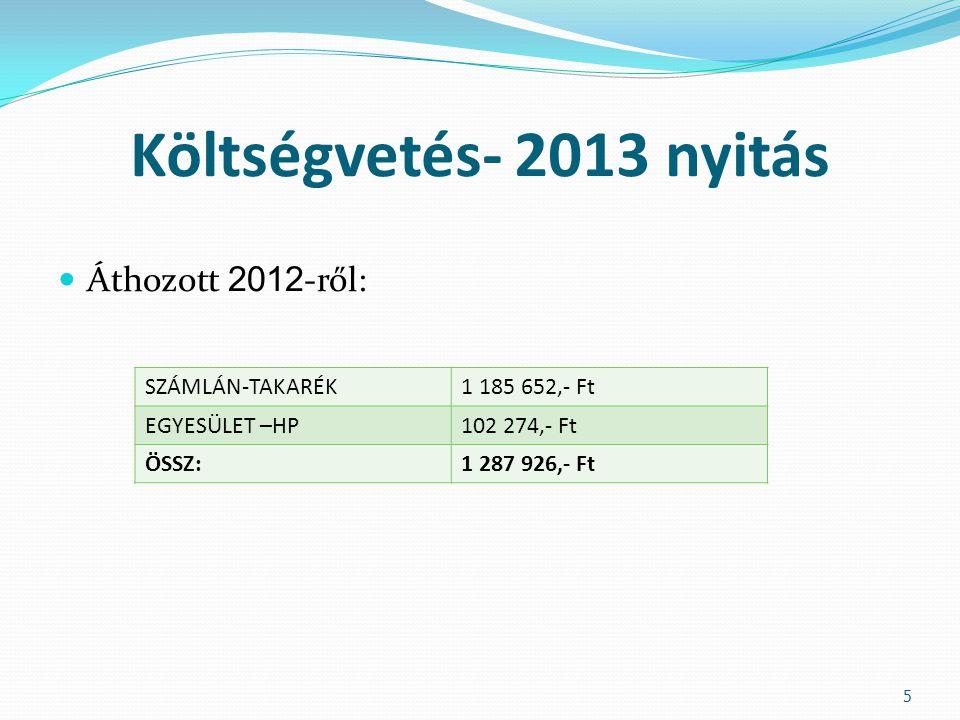 Költségvetés- 2013 Egyesület Bevétel  Tagdíj  1 200,- Ft/Felnőtt 334 db  500,- Ft/Gyermek 58 db  Kedvező Ár.