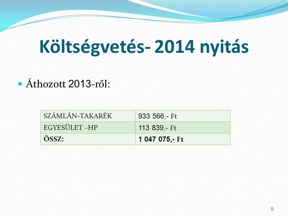 Költségvetés- 2014 nyitás  Áthozott 2013 -ről: 9 SZÁMLÁN-TAKARÉK 933 566,- Ft EGYESÜLET –HP 113 839,- Ft ÖSSZ: 1 047 075,- Ft