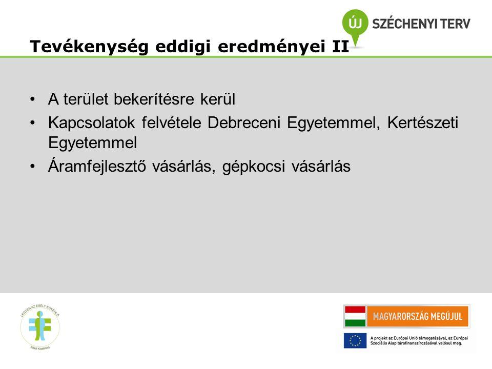 9 •A terület bekerítésre kerül •Kapcsolatok felvétele Debreceni Egyetemmel, Kertészeti Egyetemmel •Áramfejlesztő vásárlás, gépkocsi vásárlás Tevékenys