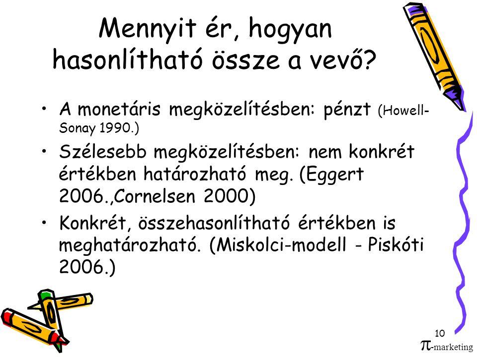10 Mennyit ér, hogyan hasonlítható össze a vevő? •A monetáris megközelítésben: pénzt (Howell- Sonay 1990.) •Szélesebb megközelítésben: nem konkrét ért