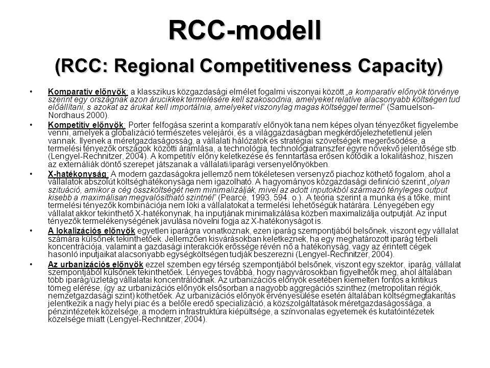"""RCC-modell (RCC: Regional Competitiveness Capacity) •Komparatív előnyök: a klasszikus közgazdasági elmélet fogalmi viszonyai között """"a komparatív előn"""