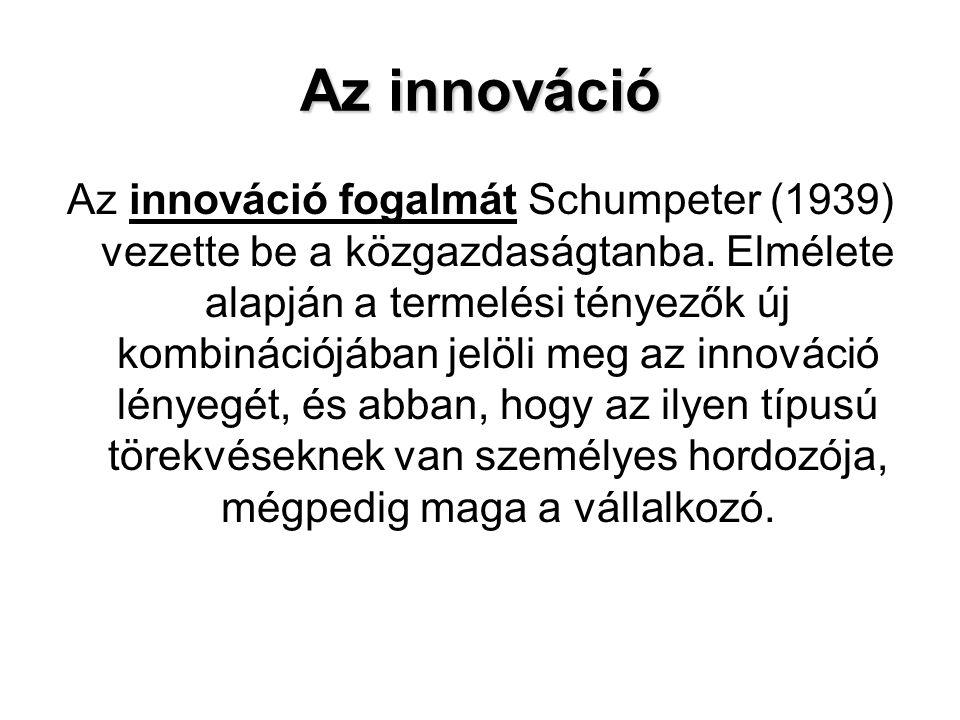 Az innováció Az innováció fogalmát Schumpeter (1939) vezette be a közgazdaságtanba. Elmélete alapján a termelési tényezők új kombinációjában jelöli me