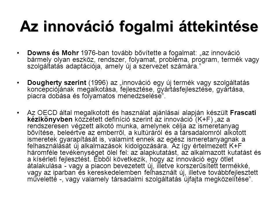 """Az innováció fogalmi áttekintése •Downs és Mohr 1976-ban tovább bővítette a fogalmat: """"az innováció bármely olyan eszköz, rendszer, folyamat, probléma"""