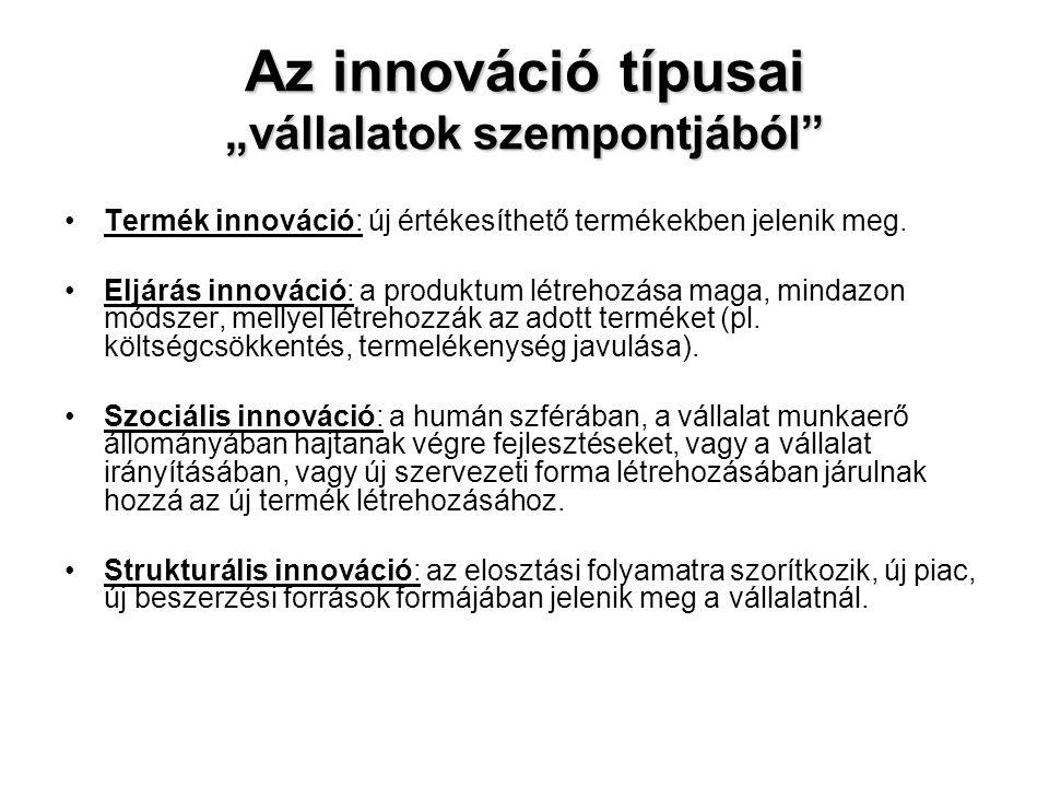 """Az innováció típusai """"vállalatok szempontjából"""" •Termék innováció: új értékesíthető termékekben jelenik meg. •Eljárás innováció: a produktum létrehozá"""