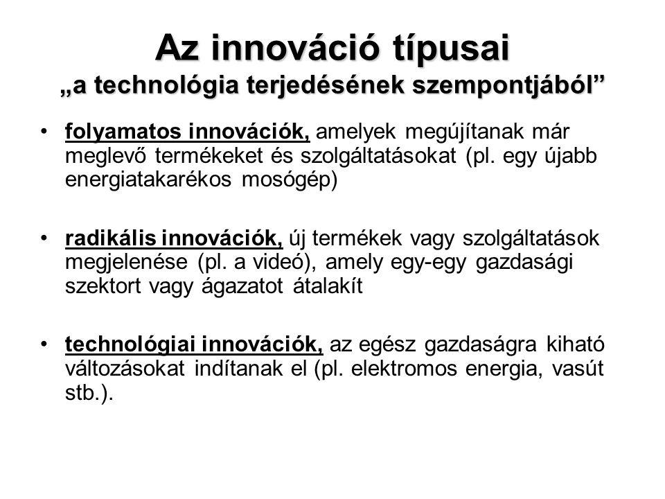 """Az innováció típusai """"a technológia terjedésének szempontjából"""" •folyamatos innovációk, amelyek megújítanak már meglevő termékeket és szolgáltatásokat"""