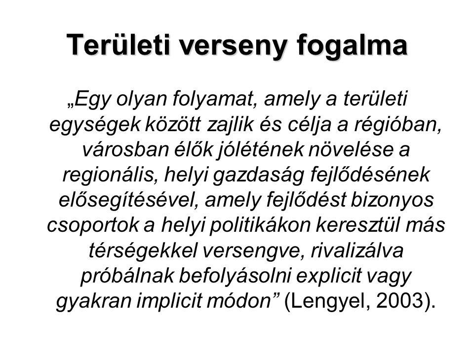 """Területi verseny fogalma """"Egy olyan folyamat, amely a területi egységek között zajlik és célja a régióban, városban élők jólétének növelése a regionál"""