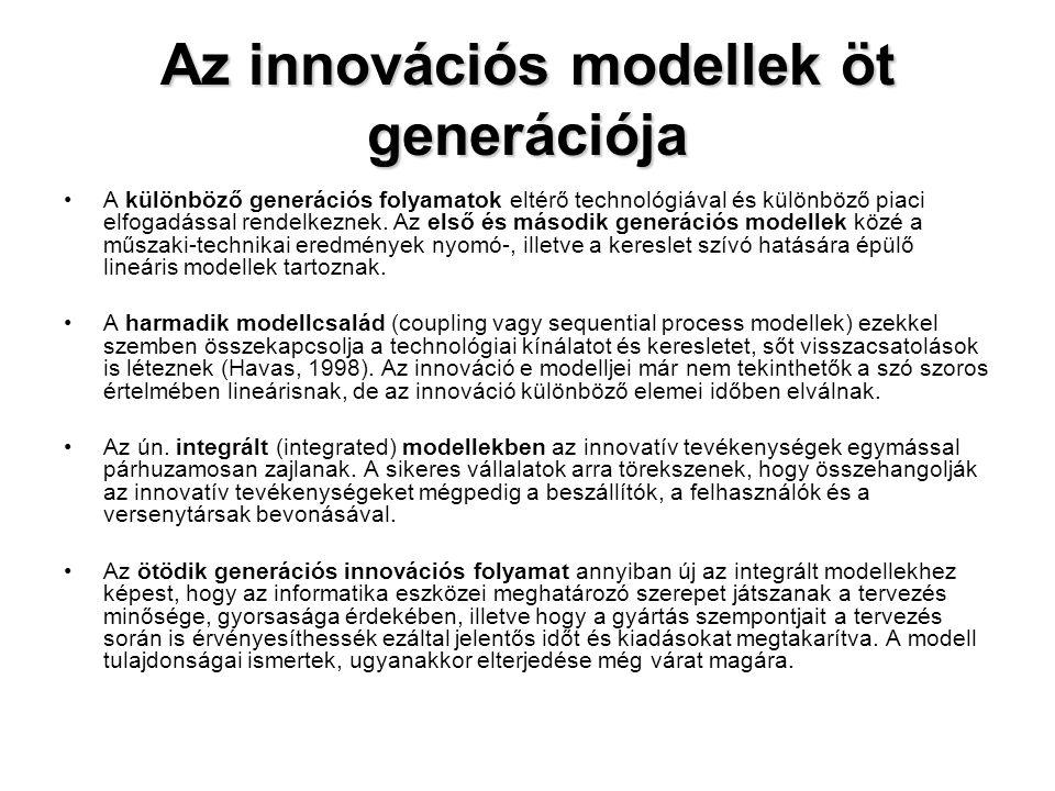 Az innovációs modellek öt generációja •A különböző generációs folyamatok eltérő technológiával és különböző piaci elfogadással rendelkeznek. Az első é