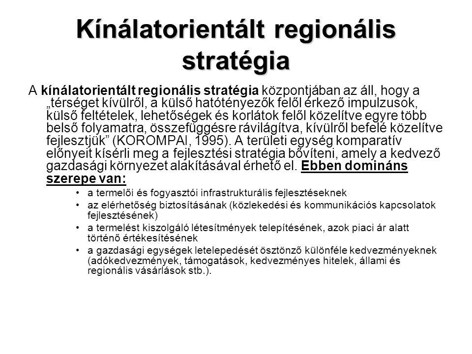 """Kínálatorientált regionális stratégia A kínálatorientált regionális stratégia központjában az áll, hogy a """"térséget kívülről, a külső hatótényezők fel"""