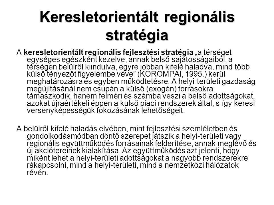"""Keresletorientált regionális stratégia A keresletorientált regionális fejlesztési stratégia """"a térséget egységes egészként kezelve, annak belső sajáto"""