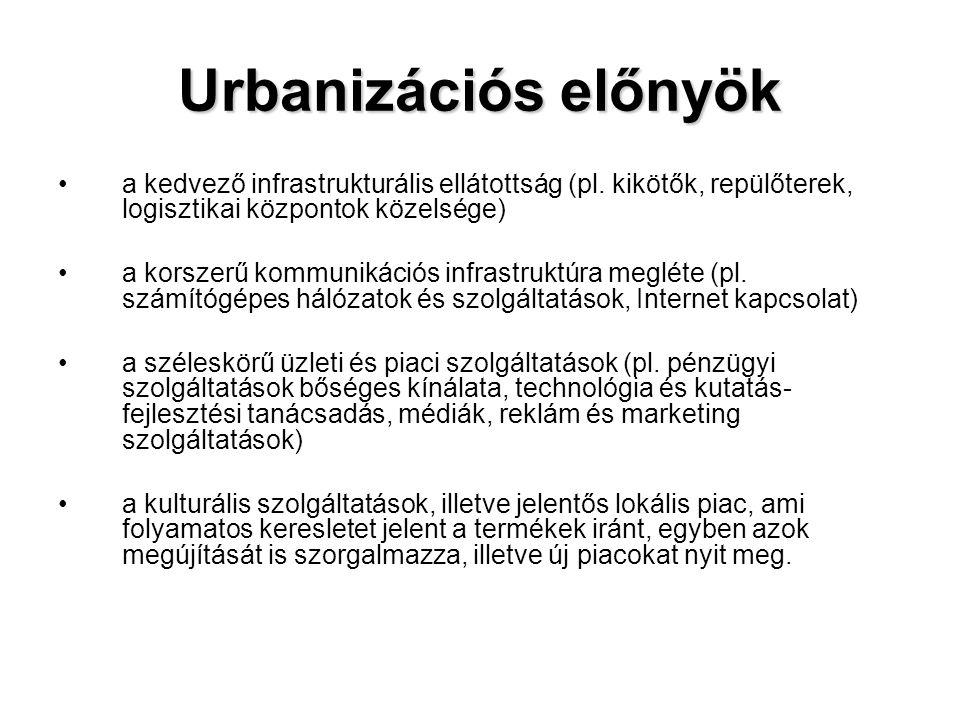 Urbanizációs előnyök •a kedvező infrastrukturális ellátottság (pl. kikötők, repülőterek, logisztikai központok közelsége) •a korszerű kommunikációs in