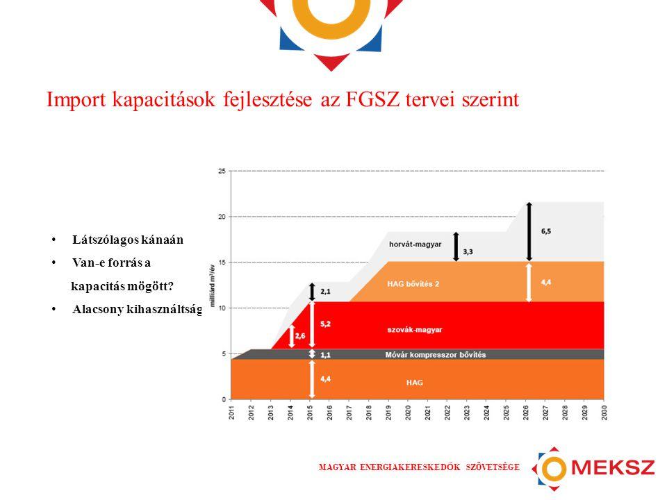 MAGYAR ENERGIAKERESKED Ő K SZÖVETSÉGE Import kapacitások fejlesztése az FGSZ tervei szerint • Látszólagos kánaán • Van-e forrás a kapacitás mögött.