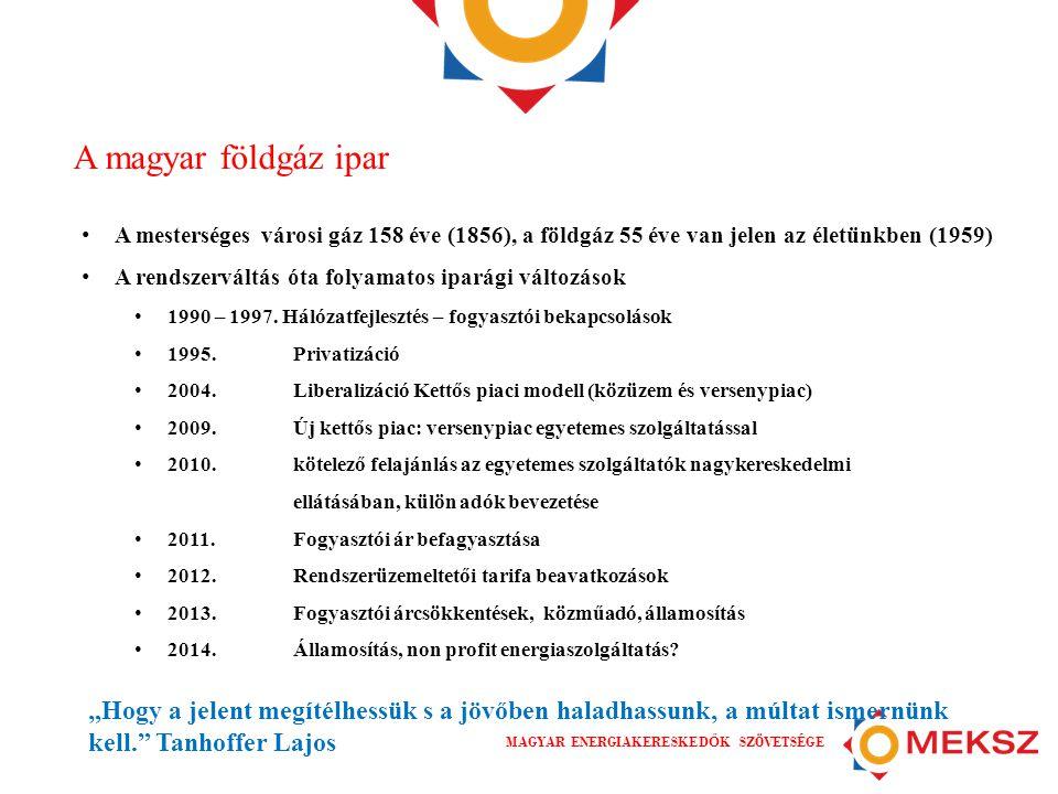 MAGYAR ENERGIAKERESKED Ő K SZÖVETSÉGE A magyar földgáz ipar • A mesterséges városi gáz 158 éve (1856), a földgáz 55 éve van jelen az életünkben (1959)