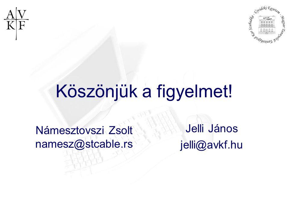 Köszönjük a figyelmet! Jelli János jelli@avkf.hu Námesztovszi Zsolt namesz@stcable.rs