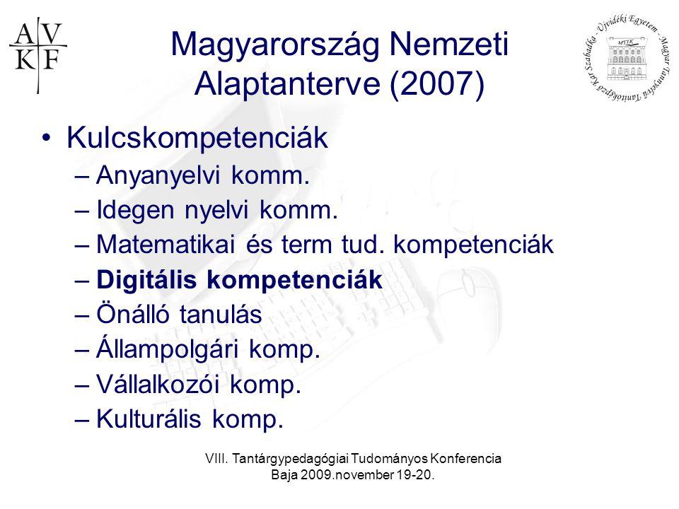 VIII. Tantárgypedagógiai Tudományos Konferencia Baja 2009.november 19-20. Magyarország Nemzeti Alaptanterve (2007) •Kulcskompetenciák –Anyanyelvi komm