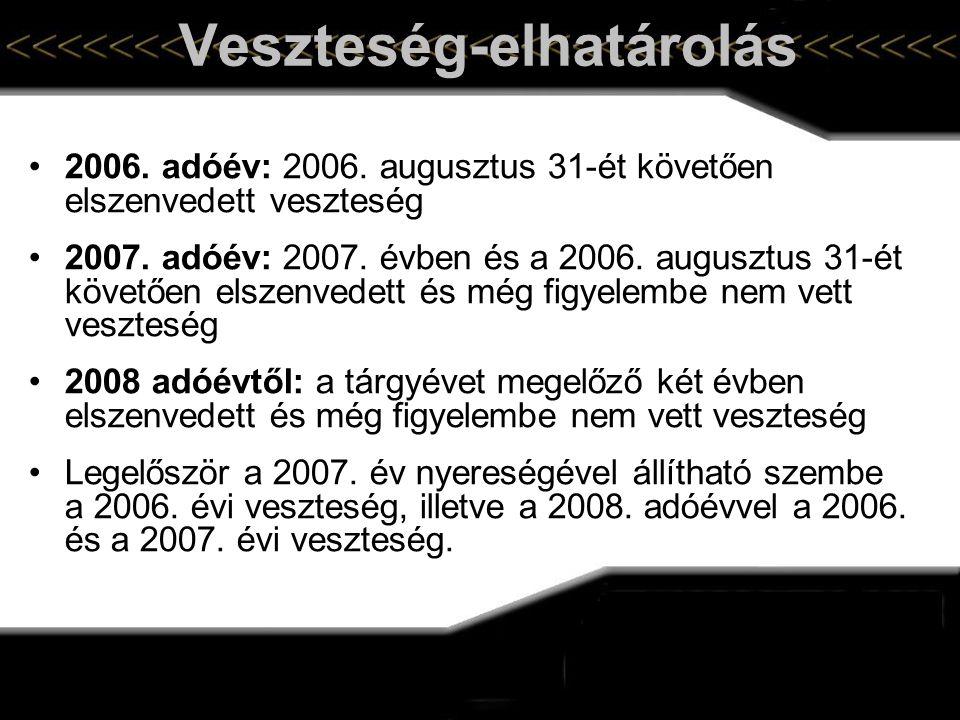 Veszteség-elhatárolás •2006. adóév: 2006. augusztus 31-ét követően elszenvedett veszteség •2007. adóév: 2007. évben és a 2006. augusztus 31-ét követőe