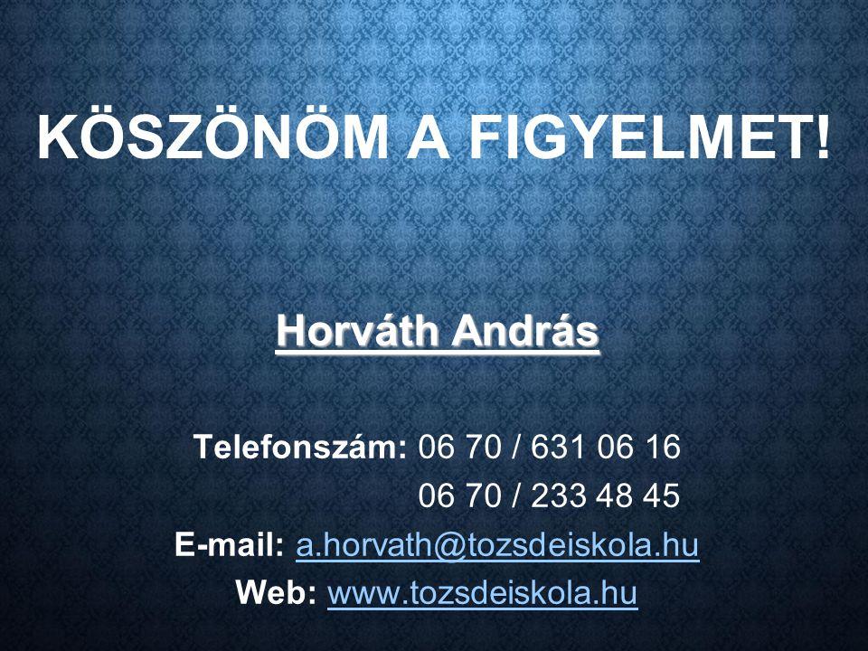KÖSZÖNÖM A FIGYELMET! Horváth András Telefonszám: 06 70 / 631 06 16 06 70 / 233 48 45 E-mail: a.horvath@tozsdeiskola.hu Web: www.tozsdeiskola.hu