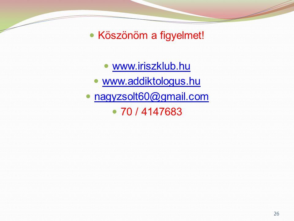  Köszönöm a figyelmet!  www.iriszklub.hu www.iriszklub.hu  www.addiktologus.hu www.addiktologus.hu  nagyzsolt60@gmail.com nagyzsolt60@gmail.com 