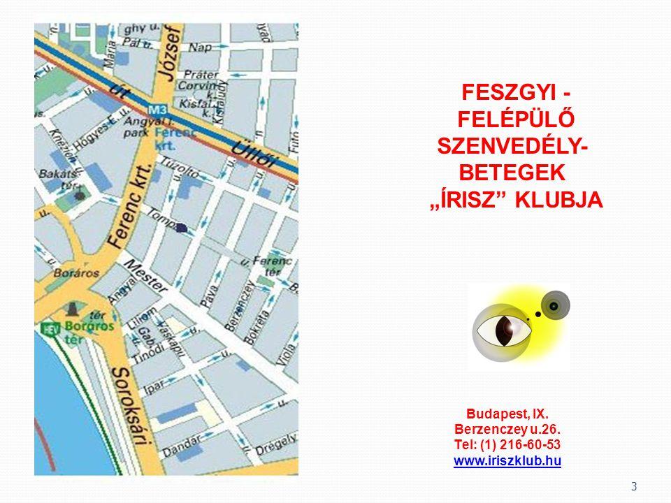 """3 FESZGYI - FELÉPÜLŐ SZENVEDÉLY- BETEGEK """"ÍRISZ"""" KLUBJA Budapest, IX. Berzenczey u.26. Tel: (1) 216-60-53 www.iriszklub.hu"""
