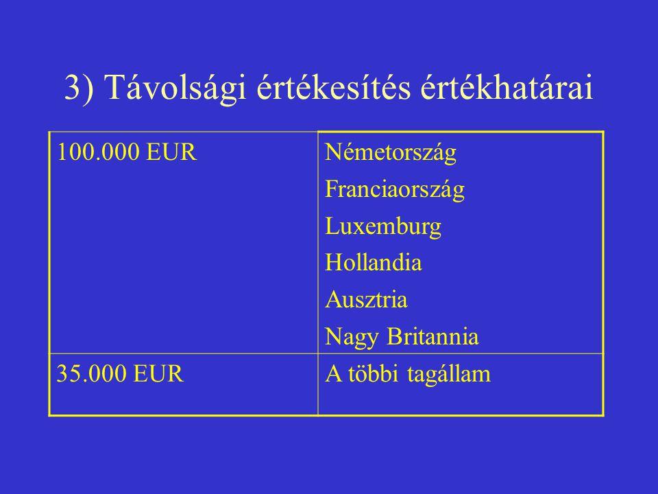3) Távolsági értékesítés értékhatárai 100.000 EURNémetország Franciaország Luxemburg Hollandia Ausztria Nagy Britannia 35.000 EURA többi tagállam