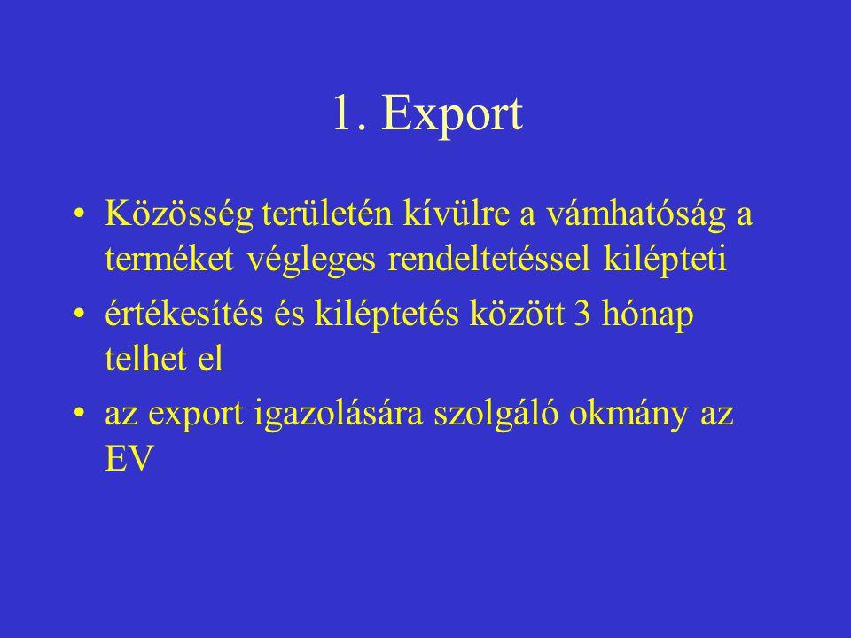 1. Export •Közösség területén kívülre a vámhatóság a terméket végleges rendeltetéssel kilépteti •értékesítés és kiléptetés között 3 hónap telhet el •a